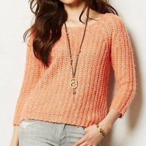 ANTHROPOLOGIE KNITTED & KNOTTED Sunstitch Pullover